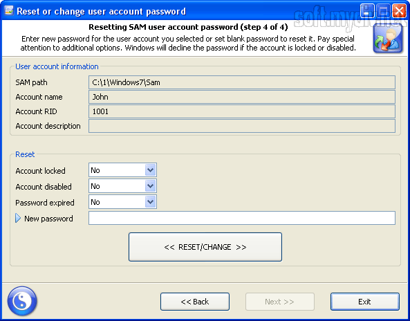 Reset Windows Password Advanced Edition reset/change